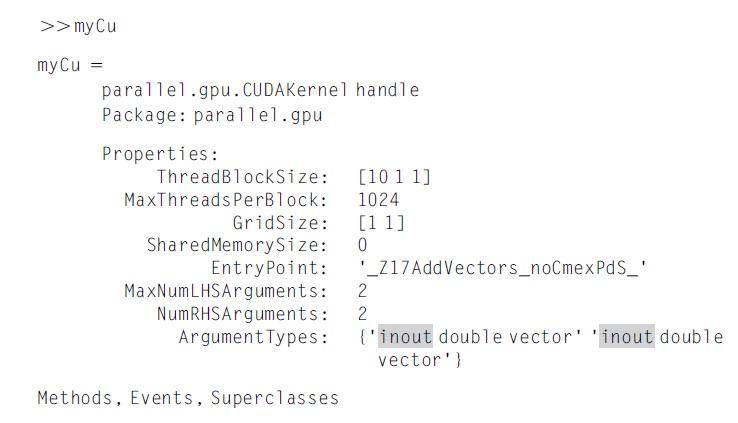 MATLAB CUDA kernel çıkış değişkenleri nasıl tanımlanır?