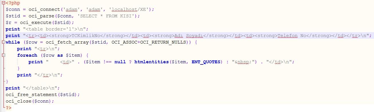 PHP ile Oracle veritabanındaki tablodan verileri çekerek listeleme nasıl yapılır?