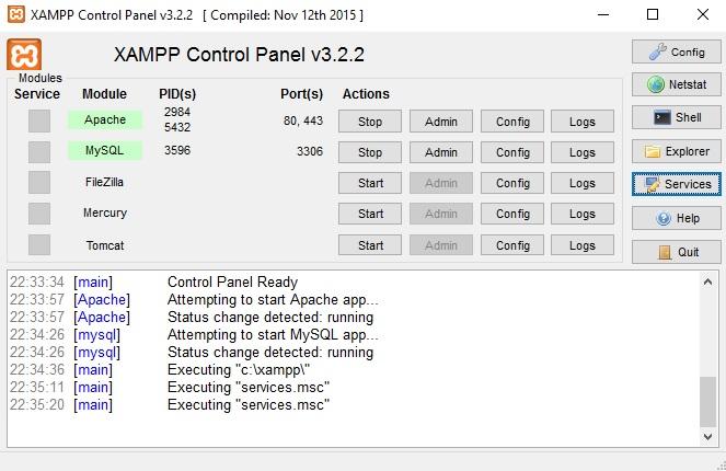 PHP geliştirme ortamı olarak XAMPP kurdum