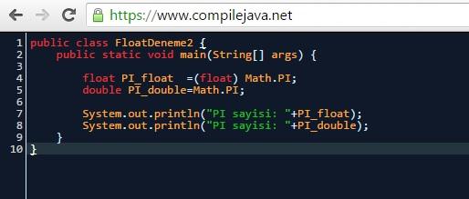 Online Java Derleyicisi - https://www.compilejava.net/