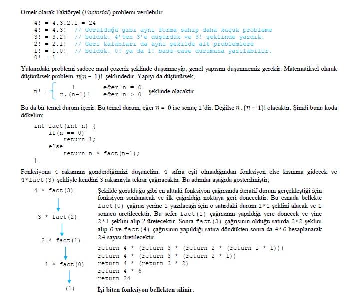 Rekürsif bir fonksiyon örneği - Faktöriyel Hesabı