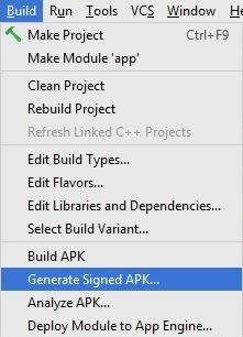 Android Studio 2.2.2'de projenin APK dosyası nasıl oluşturulur?