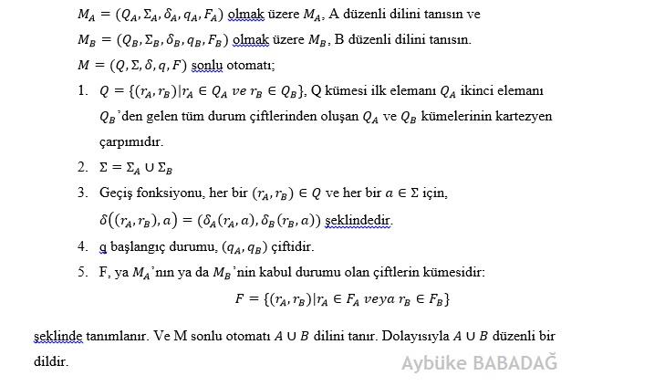 A dili düzenli (regular) ise B dili düzenli ise AUB'nin düzenli olduğunu ispatlayınız?